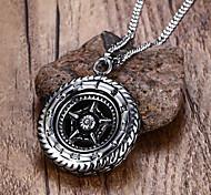 Муж. Ожерелья с подвесками Заявление ожерелья Круглый В форме звезды Нержавеющая сталь Титановая сталь бижутерия Мода Панк По заказу