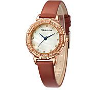 REBIRTH Women's Wrist watch Fashion Watch Chinese Quartz Leather Band Black White Brown Grey Pink