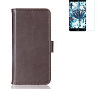 Case for One Plus 5 Mobile Phone Shell Card Holder Wallet Flip  Full Body Case Solid Color Hard Genuine Leather(with Explosion-Proof Film 1pc)