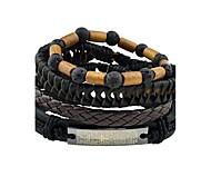 Men's Women's Leather Bracelet Punk Leather Round Swan Jewelry For Gift