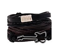 cheap -Men's Women's Leather Multi Layer Leather Bracelet - Multi Layer Fashion Geometric Rainbow Bracelet For Wedding Party Sports