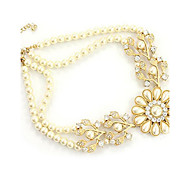 Women's Statement Necklaces Power Necklace Pearl Flower Pearl Alloy Vintage Party Fashion Statement Jewelry Jewelry For Wedding Party