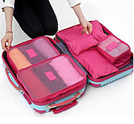 6 sets Travel Bag Packing Cubes Travel Luggage Organizer / Packing Organizer Waterproof Dust Proof Foldable Durable Travel Storage for