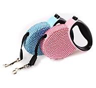 Dog Leash Portable Rhinestone Plastic Nylon Blue Pink