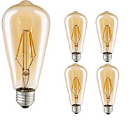 5pcs 4W E27 LED Filament Bulbs ST64 COB 360lm Warm White Edison Filament Light AC220-240V