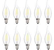 cheap -BRELONG® 10pcs 2W 200 lm E14 LED Filament Bulbs C35 2 leds COB Dimmable Warm White White AC 220-240V