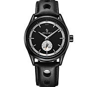 Муж. Модные часы Японский Кварцевый Календарь Защита от влаги С гравировкой Натуральная кожа Группа ЛюксЧерный Серебристый металл