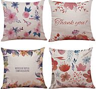 cheap -Set of 4 Hand-Painted Roses Linen Cushion Cover Home Office Sofa Square Pillow Case Decorative Cushion Covers Pillowcases Without Insert(18*18Inch)
