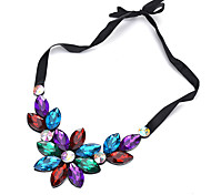 Недорогие -Жен. Ожерелья-бархатки - Цветы Черный, Цвет радуги, Светло-синий Ожерелье Назначение Для шоппинга, На каждый день
