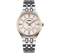 SKMEI Women's Simulated Diamond Watch Fashion Watch Wrist watch Quartz Stainless Steel Band Elegant Silver