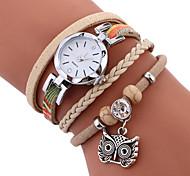 MINHIN Brand Women Casual Wristwatches Leather Braided Owl Pendant Handmade Bracelet Clock Ladies Quartz Strap Watch