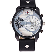 XU Men's Luxurious Elegant Quartz Leather Belt Double Movement Big Dial Sports Leisure Watch