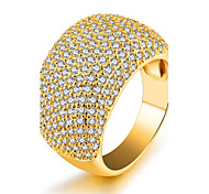 Women's Band Rings Cubic Zirconia Sexy Fashion Luxury Statement Jewelry Bling Bling Zircon Gold Plated Circle Jewelry For Party Birthday
