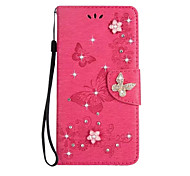 For Case Cover Card Holder Wallet Rhinestone with Stand Flip Full Body Case Solid Color Butterfly Hard PU Leather for Sony Sony Xperia XZ