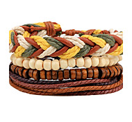 cheap -Men's Women's Leather Bohemian Wrap Bracelet Strand Bracelet - Personalized Bohemian Handmade Round Brown Bracelet For Daily Casual Club