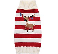 Dog Coat Sweater Dog Clothes Party Casual/Daily Holiday Fashion Wedding New Year's Christmas Reindeer Red Green Costume For Pets