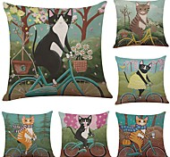 cheap -Set of 6 Cycling  Cat  Linen Cushion Cover Home Office Sofa Square Pillow Case Decorative Cushion Covers Pillowcases (18*18Inch)