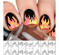 1 PCS New Style French Smile Sticker Nail Polish  Flame Pattern Template Nail Art Sticker