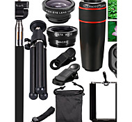 cheap -10 in 1 12x Zoom Telephoto Lens  Fisheye  Wide Angle  Macro Lens with Phone Holder  Tripod for iPhone