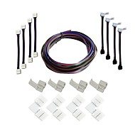 cheap -A set- LED Strips Connectors Full Kits Strip to Strip 5M Jumper L-Shape Corner Connector RGB Extension Cable Gapless Connector Strip to Control box