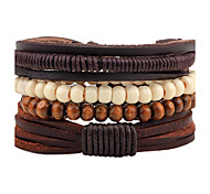 cheap -Men's Leather Wrap Bracelet Strand Bracelet - Personalized Handmade Fashion Round Brown Bracelet For Street