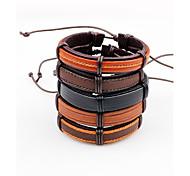 Недорогие -Муж. Кожаные браслеты Регулируется Multi-Wear способы Кожа В форме линии Бижутерия Назначение Повседневные На выход