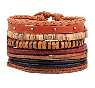 cheap -Men's Leather Bracelet Wrap Bracelet Strand Bracelet Personalized DIY Handmade Fashion Adjustable Leather Wood Round Jewelry Casual Stage