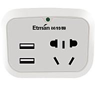 Etman au plug phone usb chargeur power strips 2 sorties 2 usb ports 4.2a ac 100v-250v