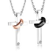 Муж. Жен. Ожерелья с подвесками Цирконий Крестообразной формы Титановая сталь Любовь Мода Крест Pоскошные ювелирные изделия Массивные