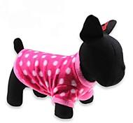 abordables -Chat Chien Tee-shirt Vêtements pour Chien Points Polka Rouge Polaire Costume Pour les animaux domestiques