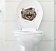 Недорогие -Животные Мода Мультипликация Наклейки Простые наклейки Декоративные наклейки на стены Наклейки для туалета, пластик Украшение дома