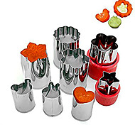 Set of 8 Stainless Steel Vegetable Fruit Mold Bread Sandwich Mold Vegetable&Fruit Cookie Cutters Shape of Heart Star Flower Rabbit Bear Random Color