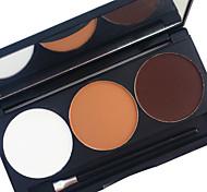 pro 3 colore impermeabile polvere in polvere kit colore terra tono che duro gli occhi fumosi ombra specchio applicatore palette di trucco