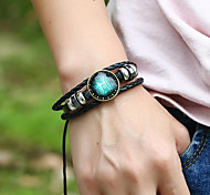Men's Women's Leather Bracelet Vintage Costume Jewelry Leather Geometric Jewelry For Gift