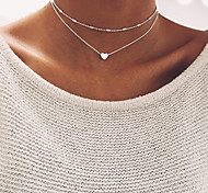 cheap -Women's Heart Choker Necklace - Basic Heart Gold Silver Necklace For Wedding Party Birthday Engagement Gift Daily Casual Evening Party