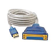 USB 2.0 Cable adaptador, USB 2.0 to DB25 Cable adaptador Macho - Hembra 3,0 M (10 pies)