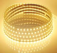Недорогие -10m 220v Higt яркие светодиодные полосы света гибкие 5050 600smd три кристаллические водонепроницаемый свет бар света сада с штепсельной
