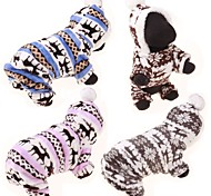Dog Hoodie Jumpsuit Sweaters Winter Clothing Dog Clothes Cotton Winter Spring/Fall Casual/Daily Reindeer Gray Coffee Blue Pink Leopard