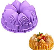 Недорогие -1pc большой короны замка силиконовый торт плесень 3d день рождения торт кастрюля украшения инструменты случайный цвет