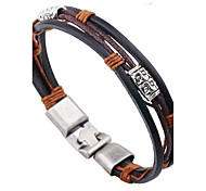 cheap -Men's Women's Leather Leather Bracelet - Fashion Simple Style Round Black Bracelet For Casual Going out