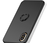 cheap -Case For Apple iPhone X iPhone 8 iPhone 8 Plus iPhone 7 Ring Holder Frosted Back Cover Solid Color Hard PC for iPhone X iPhone 8 Plus