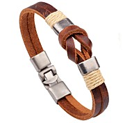 cheap -Men's Women's Leather Leather Bracelet - Handmade Fashion Round Brown Bracelet For Casual Going out