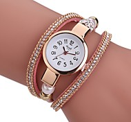 Women's Fashion Watch Bracelet Watch Unique Creative Watch Chinese Quartz PU Band Charm Elegant Casual Black White Blue Red Grey Pink