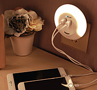 BRELONG Dual USB LED Night Light Down Sensor Bedside Lamp with Charger for Phone-Warm White AC100-240V 2.1A
