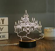 1 Set, Popular Home Acrylic 3D Night Light LED Table Lamp USB Mood Lamp Gifts, Castle