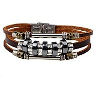 cheap -Men's Leather Leather Bracelet - Personalized Fashion Round Black Brown Bracelet For Daily Street