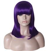 Недорогие -жен. Парики из искусственных волос Без шапочки-основы Средний Длиный Прямые Естественные прямые Фиолетовый Парик в афро-американском