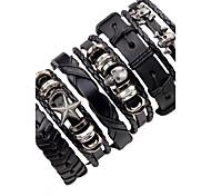 Men's Leather Bracelet Hip-Hop Multi-ways Wear Leather Alloy Star Skull / Skeleton Jewelry For Stage Club