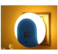 1PCS Smart LED Night Light with Light Sensor and Dual USB Wall Plate Charger Adapter