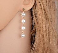 cheap -Women's Imitation Pearl Imitation Pearl Drop Earrings - Fashion Simple Style Gold Silver Round Drop Earrings For Party Casual